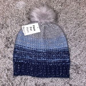 Blue/Grey Ombré Pom Pom Hat